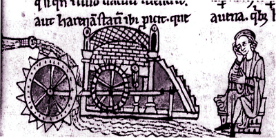 Medieval Miller Using Medieval Mill With Overshoot Wheel